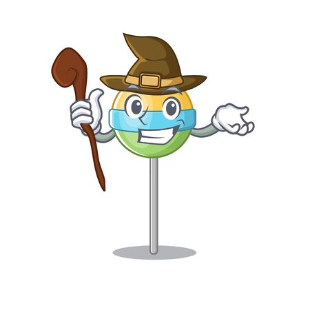 mascot round lollipop with witch character cartoon .Vector illustration Foto de archivo - 133341356