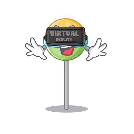 mascot round lollipop with character virtual reality .Vector illustration Foto de archivo - 133294887
