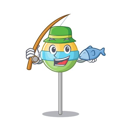 cute fishing mascot round lollipop with character.Vector illustration Foto de archivo - 133294632
