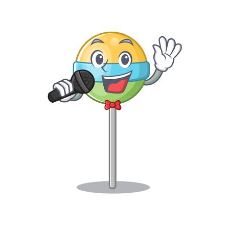 singing mascot round lollipop with character isolated .Vector illustration Foto de archivo - 133294877