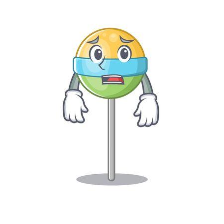 afraid vector mascot round lollipop with character.Vector illustration Foto de archivo - 133294612