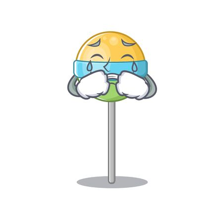 sweet crying mascot round lollipop with character.Vector illustration