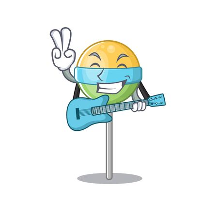 mascot with guitar round lollipop with character.Vector illustration Foto de archivo - 133294703