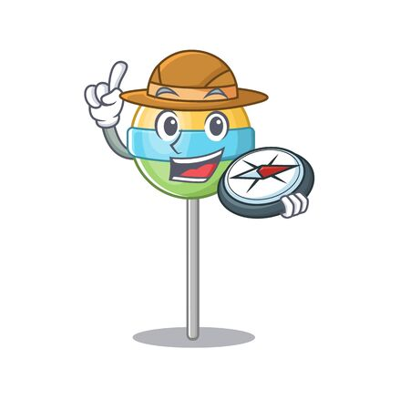 holding compass mascot round lollipop with character.Vector illustration