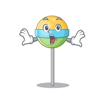 mascot round lollipop with surprised the character.Vector illustration Foto de archivo - 133341369