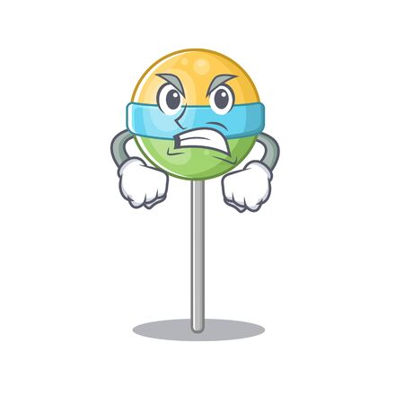 angry in mascot round lollipop with character.Vector illustration Foto de archivo - 133341374