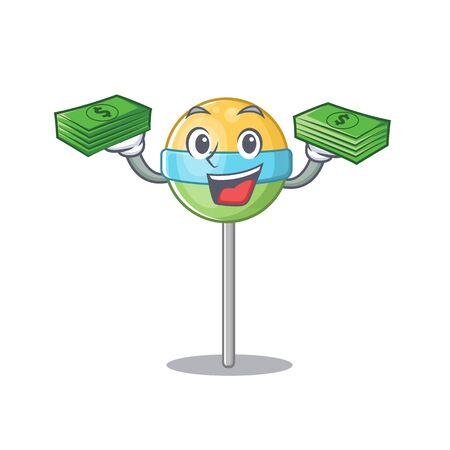 holding money mascot round lollipop with character.Vector illustration Foto de archivo - 133294907