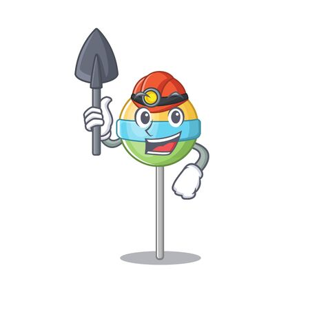 smilling miner mascot round lollipop with character.Vector illustration