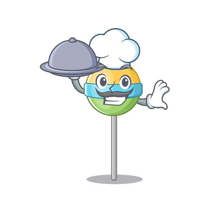 mascot round lollipop with character chef holding food.Vector illustration Foto de archivo - 133341192