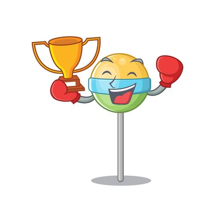 round lollipop boxing winner isolated with the cartoon.Vector illustration