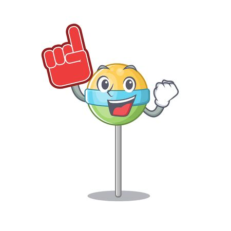 round lollipop isolated with foam finger the cartoon.Vector illustration Stock Illustratie