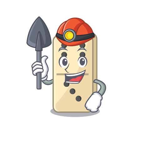 Cartoon miner style of domino cute isolated. Vector illustration