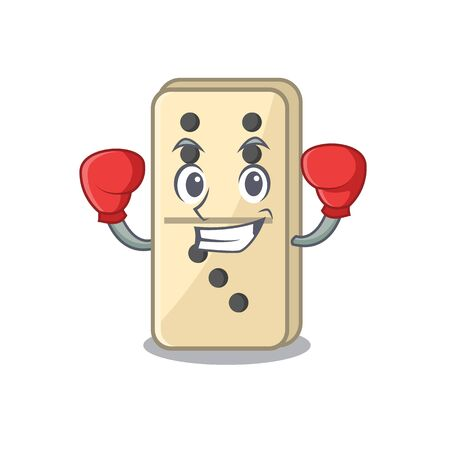 Cartoon dominoes on cute boxing character shelves. Vector illustration