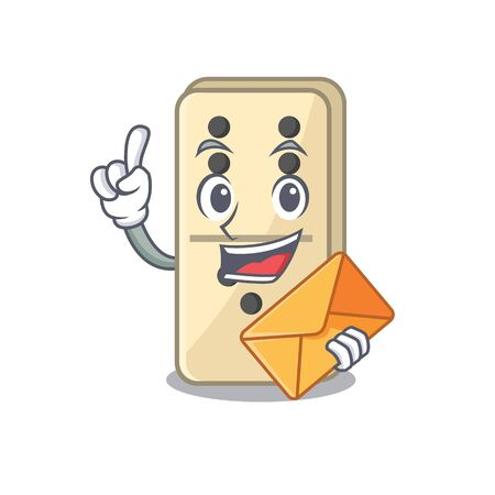 Smile domino character isolated in bring envelope vector. Vector illustration