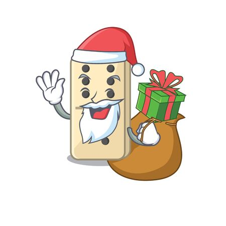 isolated domino with the cartoon santa bring gift vector illustration