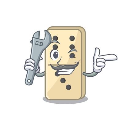 on isolated domino mechanic with the cartoon vector illustration