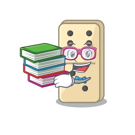 student bring book isolated domino with the cartoon vector illustration Ilustração
