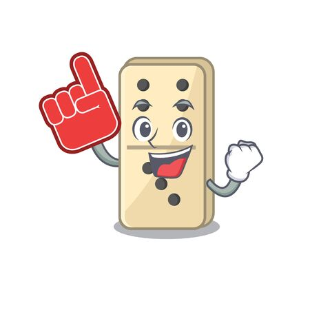 isolated domino with foam finger the cartoon vector illustration