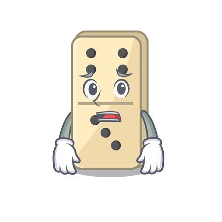 Cartoon style of domino cute afraid isolated. Vector illustration
