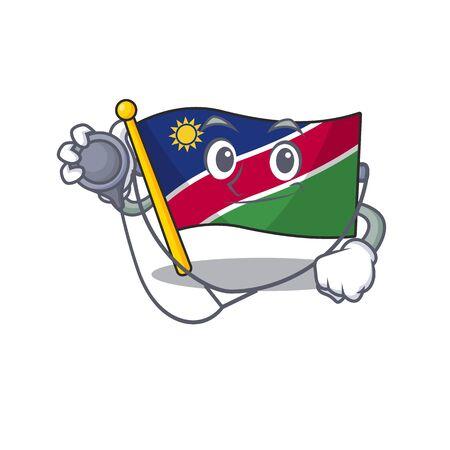 doctor smiling flag namibia cartoon character working vector illustration Illustration
