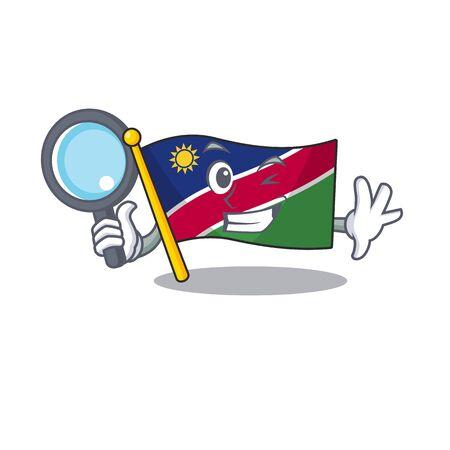 detective illustration flag namibia isolated with cartoon. Vector illustration Çizim