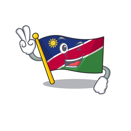 two finger illustration flag namibia isolated with cartoon. Vector illustration
