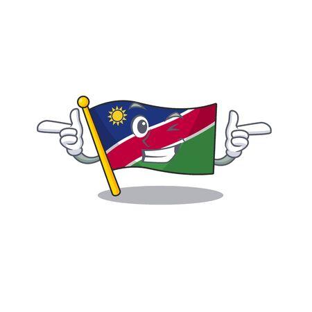 illustration flag namibia isolated wink with cartoon. Vector illustration