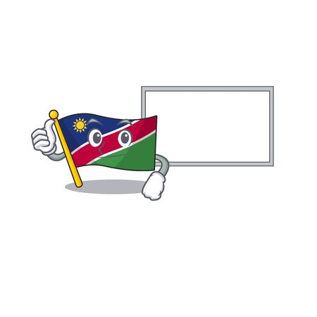 smiling flag namibia thumbs up with board cartoon character working vector illustration