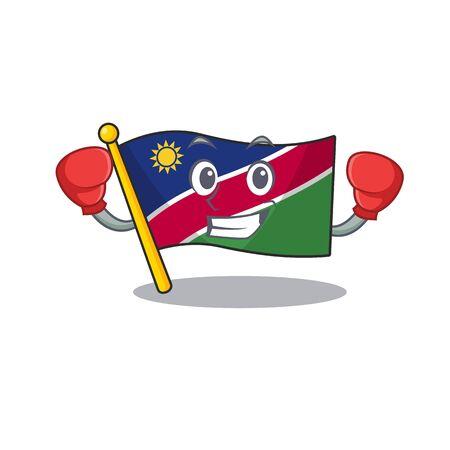 smiling flag namibia cartoon boxing character working vector illustration