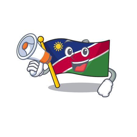 smiling flag namibia cartoon with holding megaphone character working vector illustration