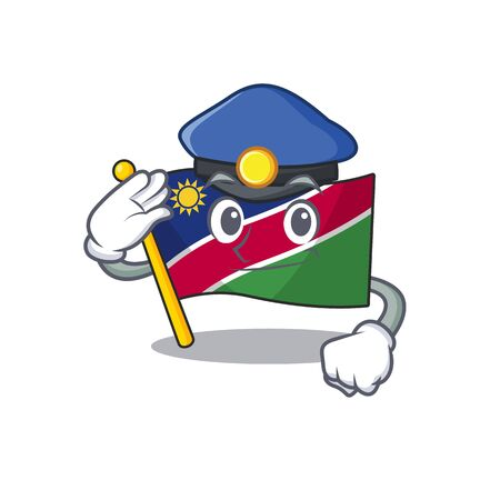 police smiling flag namibia cartoon character working vector illustration