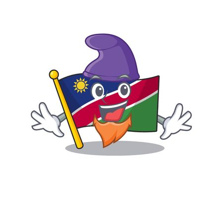 elf smiling flag namibia cartoon character working vector illustration