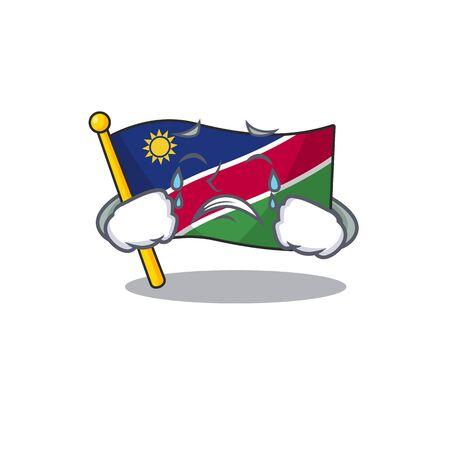 flag namibia cartoon with crying the shape. vector illustration Ilustração