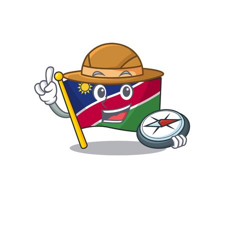 flag namibia cartoon with the holding compass shape. vector illustration 일러스트