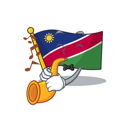 with trumpet flag namibia cartoon with the shape. vector illustration 일러스트