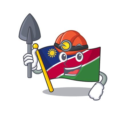 miner flag namibia cartoon with the shape. vector illustration Stock Illustratie