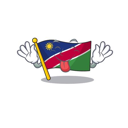 flag namibia tongue out isolated the in character vector illustration