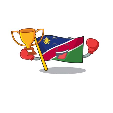 flag namibia isolated boxing winner the in character vector illustration Stock Illustratie