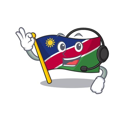 flag namibia isolated the with headphone in character vector illustration