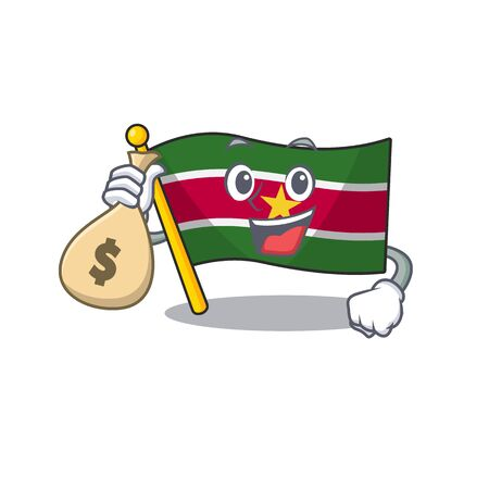 happy flag holding money bag suriname with the cartoon vector illustration