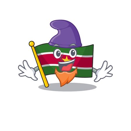 happy flag suriname with the elf cartoon vector illustration