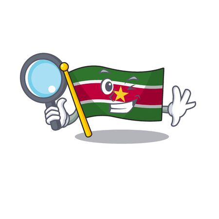 flag suriname detective character with cartoon shape vector illustration