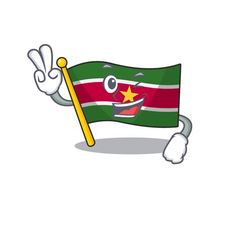flag suriname character with cartoon two finger shape vector illustration Stock Illustratie