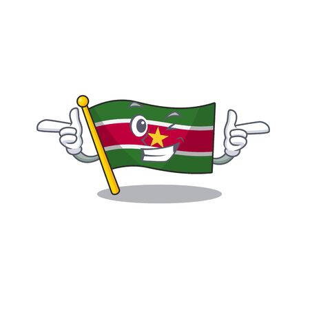 flag suriname character with wink cartoon shape vector illustration