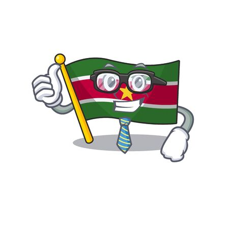 businessman flag suriname character with cartoon shape vector illustration