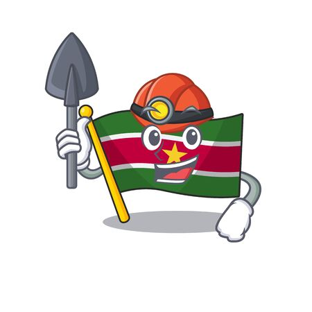 flag suriname isolated in miner the mascot vector illustration Stock Illustratie