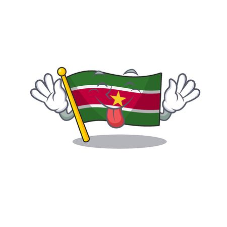tongue out flag suriname mascot on a pole vector illustration Çizim