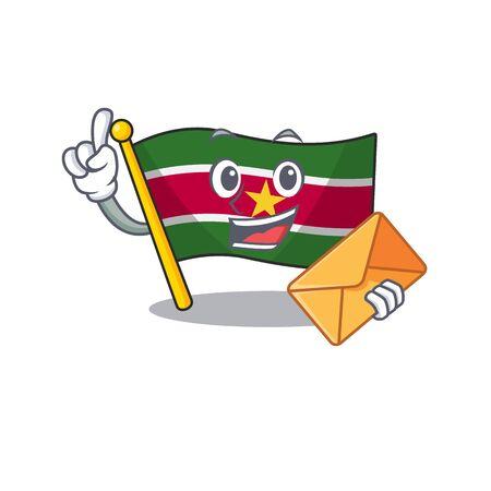 flag suriname character with bring envelope cartoon shape vector illustration Ilustracja