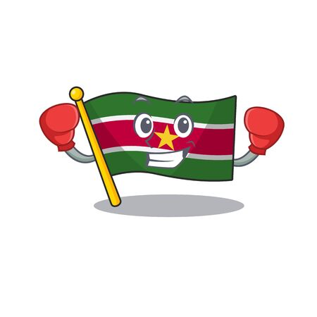 happy flag suriname with the boxing cartoon vector illustration