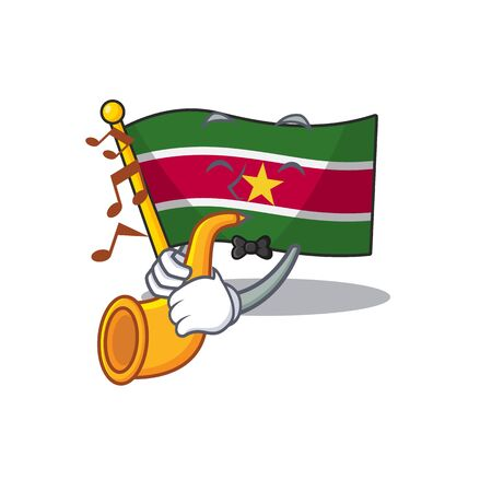 flag suriname isolated in with trumpet the mascot vector illustration
